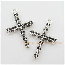 5Pcs Tibetan Silver Tone Skull Cross Charms Pendants 26x41mm