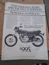 Vintage 1977 1 Page Magazine Ad Advertisement Yamaha XS360 Special Value Edition