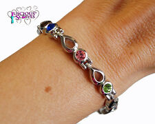 LADIES SUPER STRONG MAGNETIC SILVER  ALLOY HEALING BRACELET MULTI COLOURED STONE