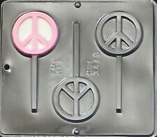 FREE SHIP NEW 3 Cavity PEACE SIGN Chocolate Candy Plaster Clay Lolly Mold