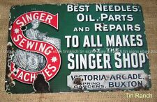 SINGER SEWING MACHINE TIN SIGN New vintage antique style SEW craft needle shop