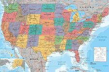 "MAP OF UNITED STATES OF AMERICA USA POSTER ""LARGE"" LICENSED ""BRAND NEW"""
