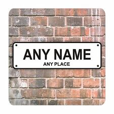 PERSONALISED STREET SIGN PRINT 9CM X 9CM SQUARE MDF COASTER