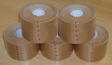 Rigid Zinc Oxide Sports Tan Tape 5cm x 13.7m x 5 Rolls (judo, boxing, rugby)