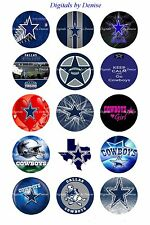 """DALLAS COWBOYS BOTTLE CAP IMAGES 50 1"""" CIRCLES  CUPCAKE TOPPERS BOW"""