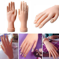 New Soft Practice Hand Nail Art Trainer Acrylic Gel False Tip Movable Hand Model