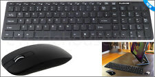 NEW Slim Black 2.4G Wireless Keyboard and Cordless Optical Mouse Combo For PC UK