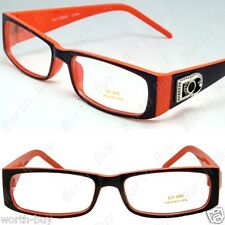 New Mens Womens DG Clear Lens Orange Frames Glasses Rectangular RX Nerdy Optical