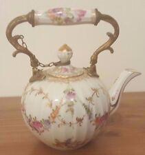 Antique & Rare Franziska Hirsch - Gold Gilded Flower Teapot with Dresden Mark