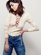 New Free People Lucky Lace Up Top Size XS $78 Natural