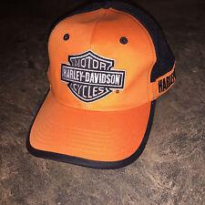 MINT EUC MENS HARLEY DAVIDSON BLACK AND ORANGE BIG LOGO BASEBALL HAT CAP