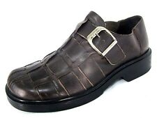 Skechers Shoes Sz 10 Mens Dark Brown Leather Fisherman Woven Loafers