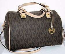 Michael Kors MK Signature PVC Large Satchel Crossbody Handbag Bag Purse Brown