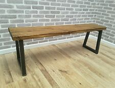 Rustic Industrial Metal Reclaimed Wood Bench 200cm - made to order