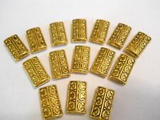 15 - 2 HOLES GOLD PLATED TIBET STYLE HIGH END SLIDER SPACER BEAD BAR BRACELET