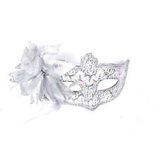 "Women's Deluxe Masquerade Mask w/ Sheer Lace, Sequin & Flower: ""Aletta"" Silver"