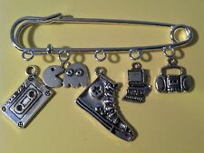 Kilt Pin Purse Visor Brooch I Love The 1980s Boombox Pacman Cass 5 Silver Charms