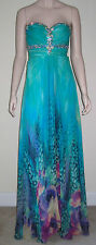 TONY BOWLS Paris Homecoming Pageant Prom Evening Dress Size 0 Turquoise Jewels