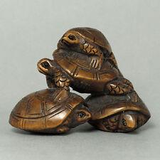 années 1940 japonais fait main buis Netsuke «4 tortue Playing» sculpture de Figurine