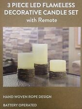3 PIECE LED FLAMELESS DECORATIVE CANDLE SET W/ REMOTE TIMER HAND WOVEN ROPE