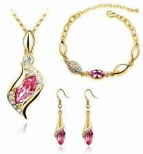 Austrian Crystal 3pc Necklace Earrings Bracelet Jewellery Set Silver Gold 18K