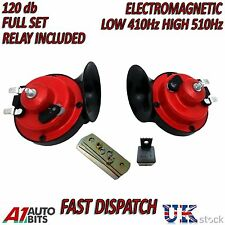 12V Twin Snail Car Air Horn Set Loud Dual Two Tone Fittings Truck Van Boat Siren