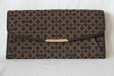 NWT! Coach Madison Slim Envelope Wallet In Needlepoint Op Art Fabric in Mahogany