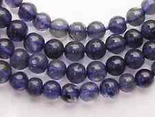 "GENUINE DARK BLUE WATER SAPPHIRE IOLITE PLAIN ROUND BEADS 3.5-4 mm 14"" Z66"
