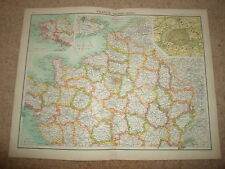 c1900 Map ~ FRANCE - NORTHERN SECTION J Bartholomew XXth Century Citizens Atlas