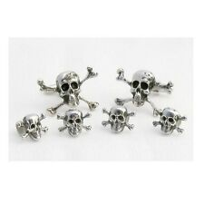 Men's Silver Skull & Cross Bones Cufflinks & Studs Tuxedo Tux Cuff Links Formal