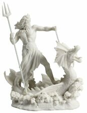 Poseidon Standing On Hippocampus w/ Trident White Statue Sculpture *FATHER'S DAY