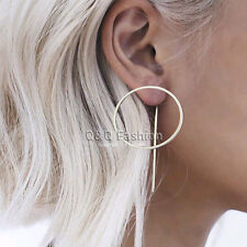 Blogger Celebrity Silver Hoop Threader Pull thru through Ear Studs Earrings Gift
