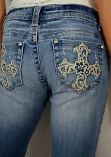 LA IDOL Denim Couture Embroidered Mystic Cross Crystal  Denim Jeans Size 1