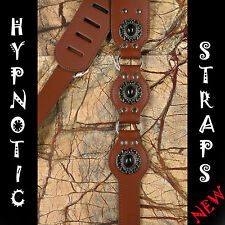 HYPNOTIC STRAPS BLACK BROWN CAMEA STUDS STUDED GOTHIC GUITAR BASS STRAP