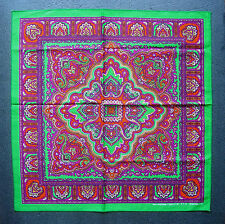 Paisley Style BANDANNA Head Scarf Handkerchief Green Purple & Orange Neck Scarf