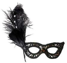 Black Leopard Eyemask Eye Mask With Strass Feathers Masquerade Ball Fancy Dress