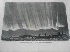 Gravure 1869 - L'Aurore Boréale vue prise de l'observatoire au collège de France