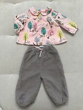 Girls Mini Boden Soft Cotton Outfit Top Blouse Pants 3-6, 6-12 Month Pink Bunny