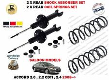 FOR HONDA ACCORD SALOON 2008- NEW 2x REAR SHOCK ABSORBER + 2 X COIL SPRINGS SET