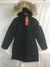 NEW CANADA GOOSE KENSINGTON PARKA BLACK WOMENS M 2506L DOWN COYOTE AUTHENTIC