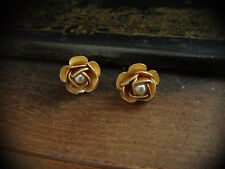 Vintage Matt Gold Rose with Pearl Stud Earrings Very Dolce & Gabbana