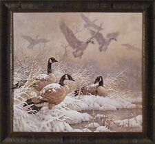 WINTER RETREAT by Larry Fanning 28x30 FRAMED PRINT Geese Snow Pond Marsh