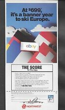 NORTHWEST AIRLINES 1986 BOEING 747-200 THE SCORE TO THE ALPS BANNER YEAR AD