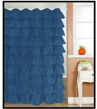 Ruffle Fabric Shower Curtain  Color Dark Blue