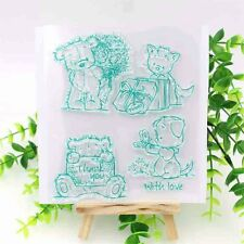 CLEAR STAMP Scrapbook Cardmaking Stamping Cute Bear With Love Green Transparent