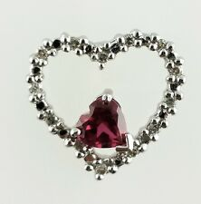 10k White Gold red stone and Diamond Heart Pendant