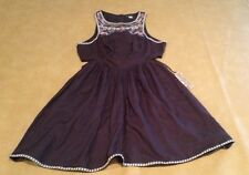NWT Billabong SOL Shining Off Black Sleeveless Etched Embroidered Summer Dress L