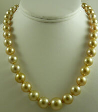 """South Sea Golden 14.1mm x 14mm Round Pearl Necklace  14k Yellow Gold Clasp 18"""""""