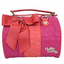 New LOUNGEFLY Hangbag Bag HELLO KITTY Purse SANRIO PINK ORANGE Quilted Duffle