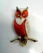 Vintage Marcel Boucher OWL Brooch Pin Costume Jewelry, signed on back